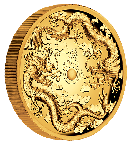 Ankauf: Dragon & Dragon 2019, Goldmünze 2 Unzen (oz) High Relief PP