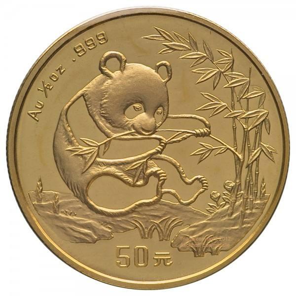 China Panda 1994, Goldmünze 1/2 Unze (oz) Original-Folie mit Kontrollzettel