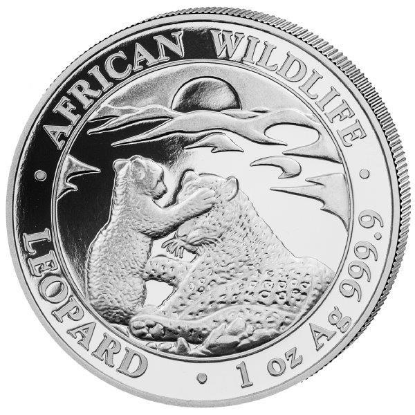 Somalia African Wildlife Leopard 2019, Silbermünze 1 Unze (oz)