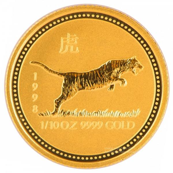 Ankauf: Lunar I 1998 Tiger, Goldmünze 1/10 Unze (oz)