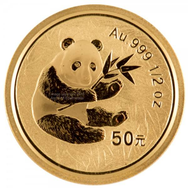 Ankauf: China Panda 2000, Goldmünze 1/2 Unze (oz)
