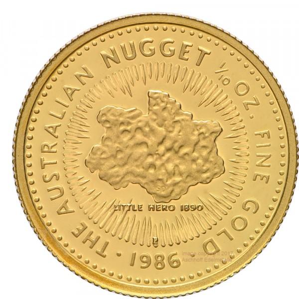 Australian Nugget (Kangaroo) 1986, Goldmünze 1/10 Unze (oz) PP