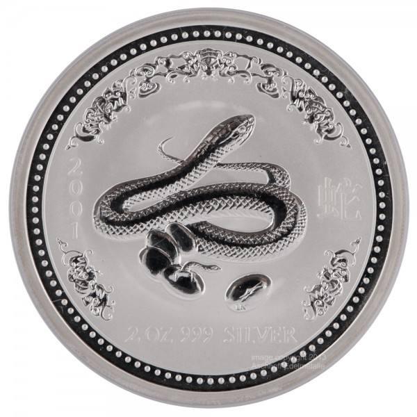 Ankauf: Lunar I 2001 Schlange, Silbermünze 2 Unzen (oz)