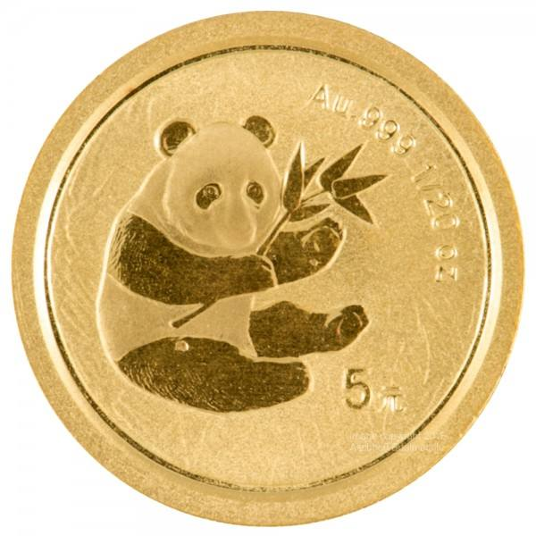 Ankauf: China Panda 2000, Goldmünze 1/20 Unze (oz)