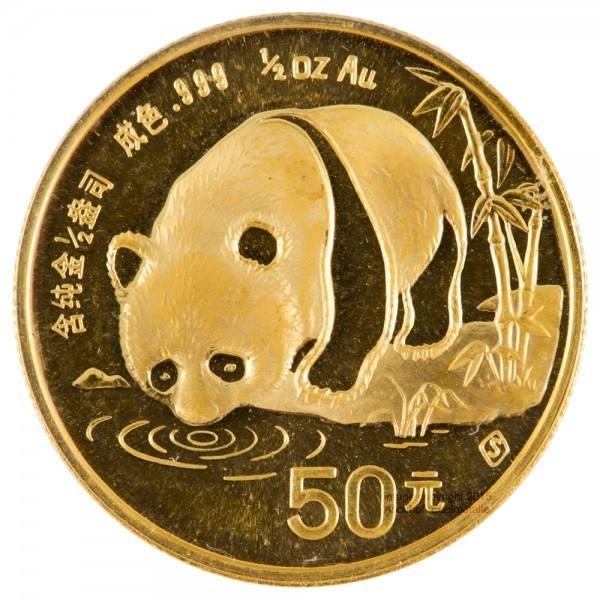 China Panda 1987, Goldmünze 1/2 Unze (oz) Folie