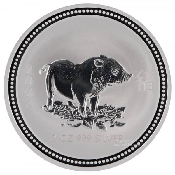 Ankauf: Lunar I 2007 Schwein, Silbermünze 2 Unzen (oz)