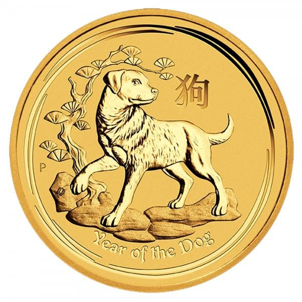 Ankauf: Lunar II 2018 Hund, Goldmünze 1/20 Unze (oz)