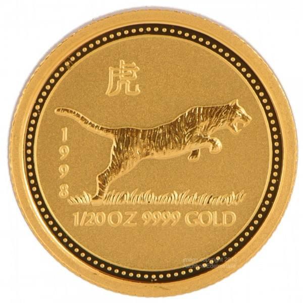 Ankauf: Lunar I 1998 Tiger, Goldmünze 1/20 Unze (oz)