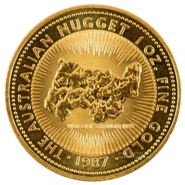 Australian Nugget (Kangaroo) 1987, Goldmünze 1 Unze (oz)