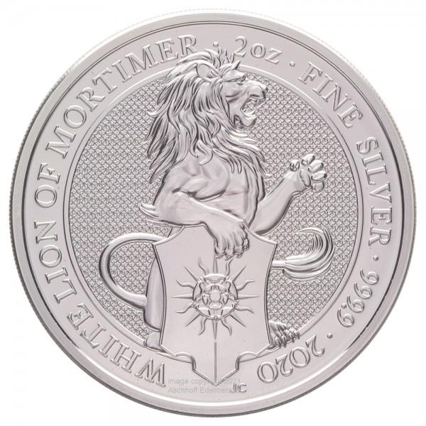 The Queens Beasts White Lion of Mortimer 2020, Silbermünze 2 Unzen (oz)