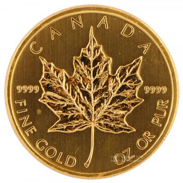 Ankauf: Maple Leaf, Goldmünze 1/4 Unze (oz), diverse Jahrgänge