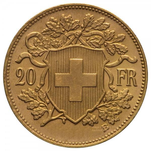 Vreneli Jahr 1908 Goldmünze 20 SFr