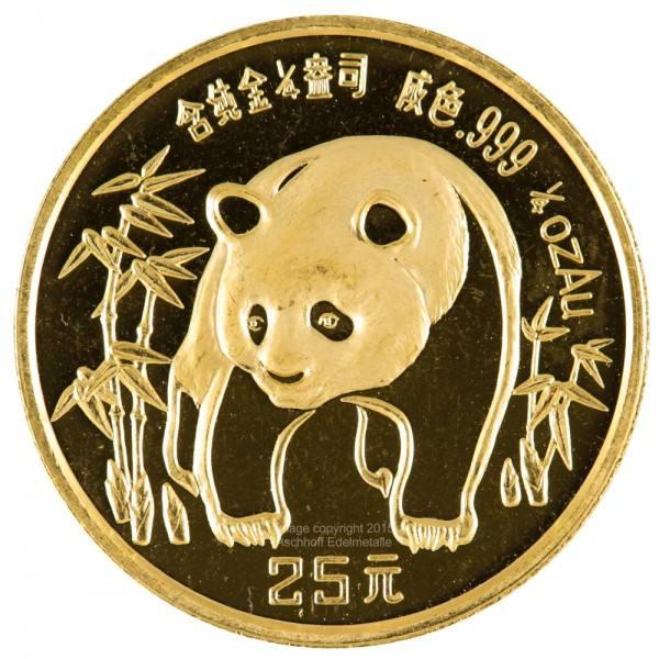 China Panda 1986, Goldmünze 1/4 Unze (oz) Original-Folie
