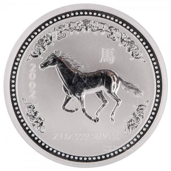 Ankauf: Lunar I 2002 Pferd, Silbermünze 2 Unzen (oz)