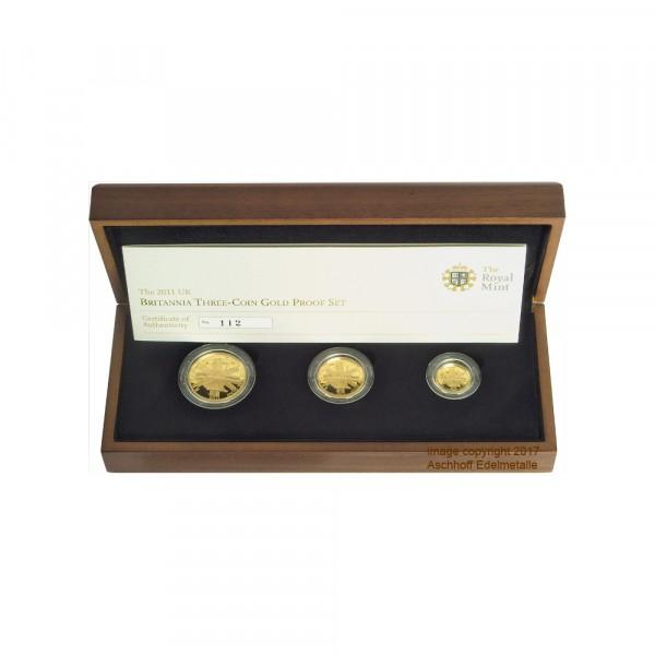 Britannia 2011 3-Coin Gold Proof Set, Goldmünzen 1/10, 1/4, 1/2 Unzen (oz) =0,85 oz Feingold