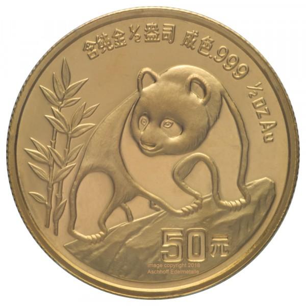Ankauf: China Panda 1990, Goldmünze 1/2 Unze (oz)