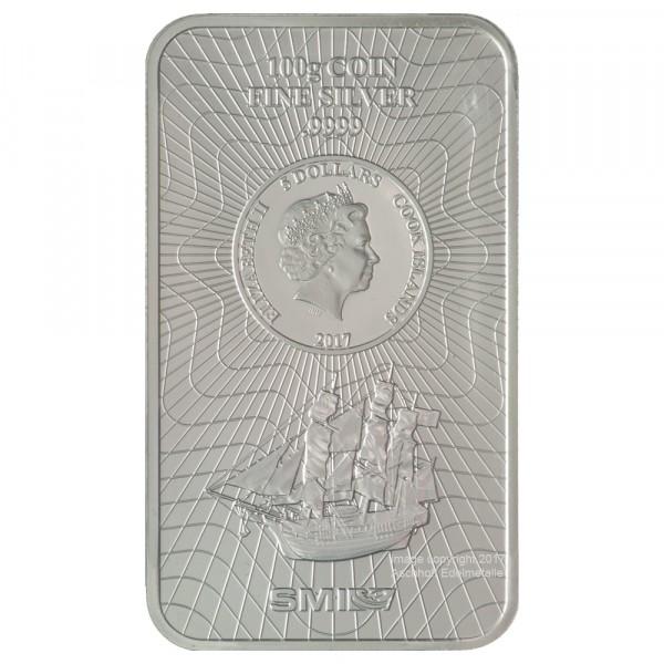 Cook Islands Münzbarren, Silber 100g, Neuware mit Zertifikat
