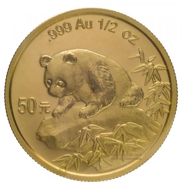 China Panda 1999, Goldmünze 1/2 Unze (oz) Original-Folie mit Kontrollzettel