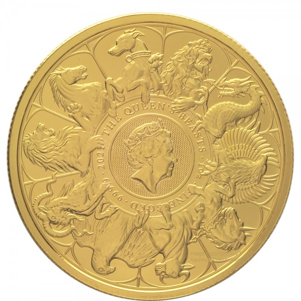 """Ankauf: The Queens Beasts Collection """"Completer Coin"""" 2021, Goldmünze 1 Unze (oz)"""