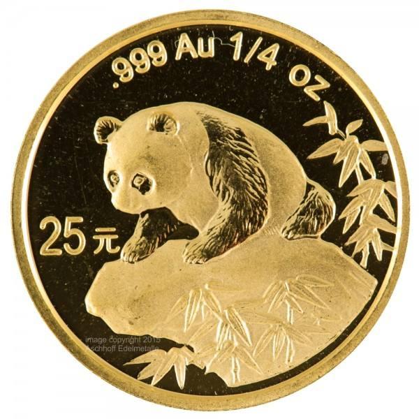 China Panda 1999, Goldmünze 1/4 Unze (oz) Original-Folie mit Kontrollzettel