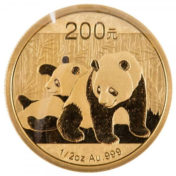 China Panda 2010, Goldmünze 1/2 Unze (oz) Original-Folie