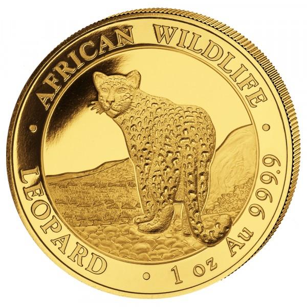 Ankauf: Somalia African Wildlife Leopard 2018, Goldmünze 1 Unze (oz)