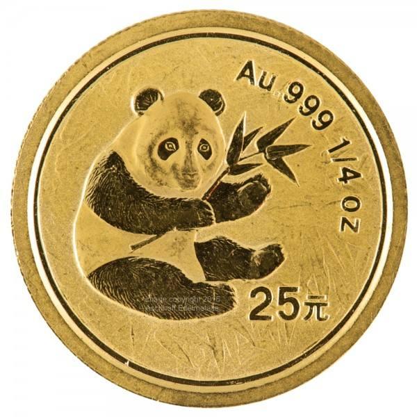 Ankauf: China Panda 2000, Goldmünze 1/4 Unze (oz)