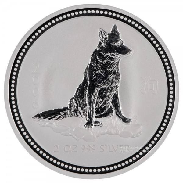 Ankauf: Lunar I 2006 Hund, Silbermünze 2 Unzen (oz)