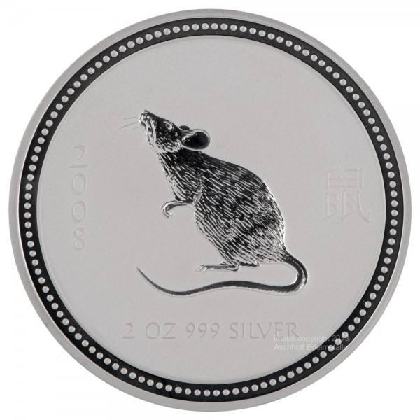 Ankauf: Lunar I 2008 Maus, Silbermünze 2 Unzen (oz)