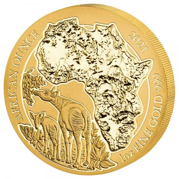 Ruanda African Ounce 2021 Okapi, Goldmünze 1 Unze (oz)