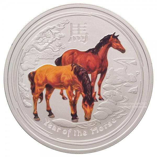 Lunar II 2014 Pferd, Silbermünze 1 Unze (oz) coloriert