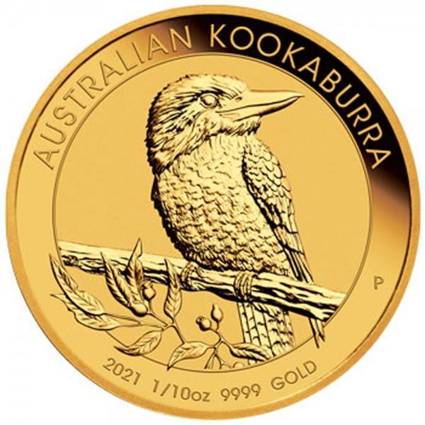 Australian Kookaburra 2021, Goldmünze 1/10 Unze (oz)