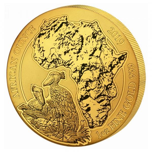 Ankauf: Ruanda African Ounce 2019 Schuschnabel, Goldmünze 1 Unze (oz)