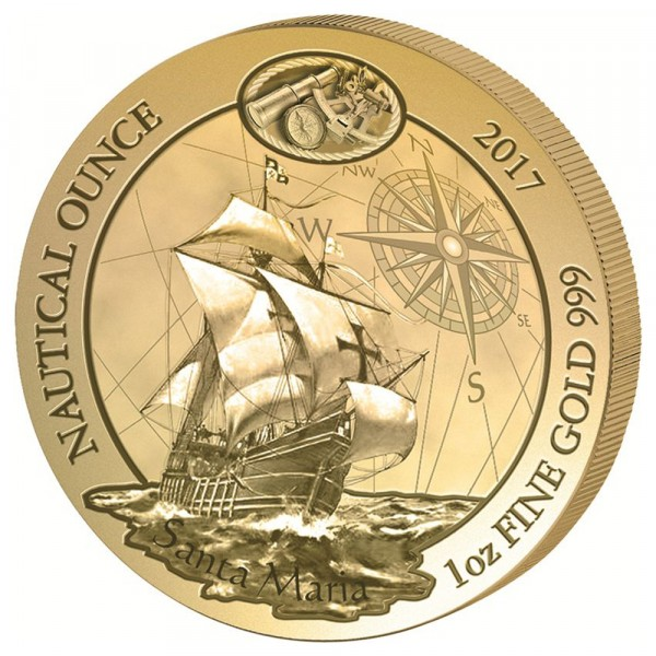 Ankauf: Ruanda Nautical Ounce 2017 Santa Maria, Goldmünze 1 Unze (oz)