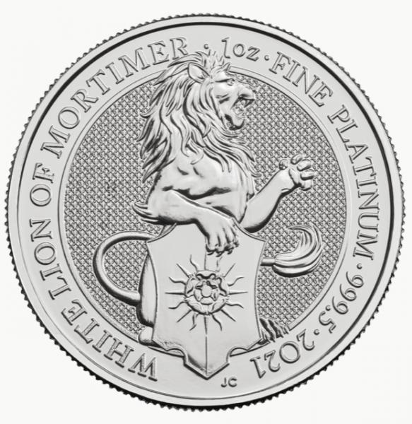 The Queens Beasts White Lion of Mortimer 2021, Platinmünze 1 Unze (oz)
