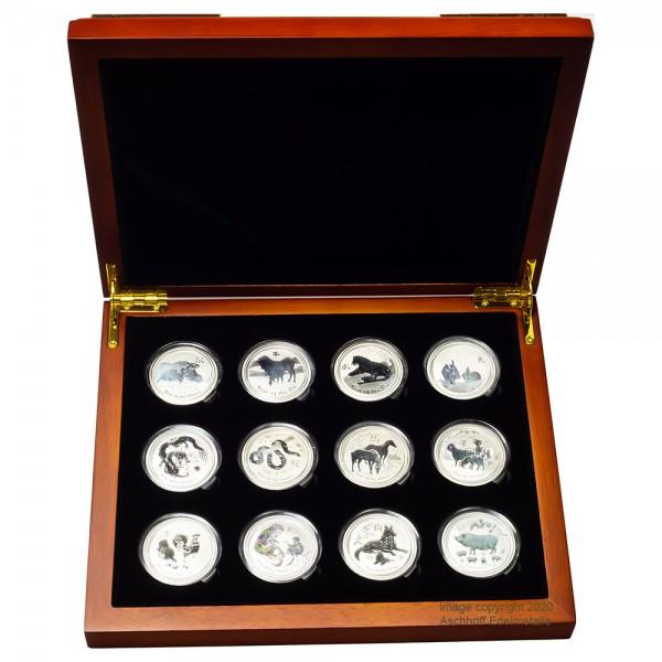 Lunar II 2008 - 2019 Silbermünzen 12 x1/2 Unze Set inkl. hochwertiger Sammlerbox