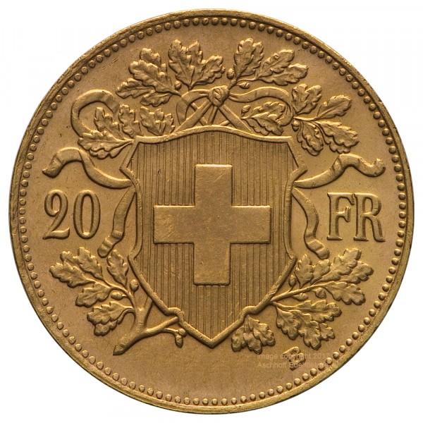 Vreneli Jahr 1910 Goldmünze 20 SFr