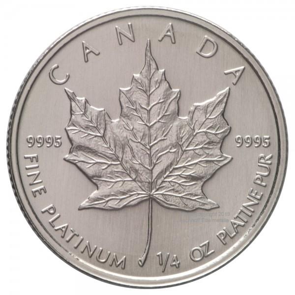 Ankauf: Maple Leaf, Platinmünze 1/4 Unze (oz), diverse Jahrgänge