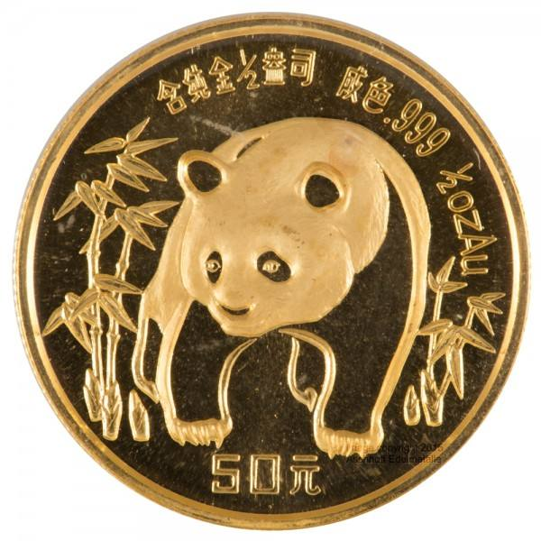 Ankauf: China Panda 1986, Goldmünze 1/2 Unze (oz)
