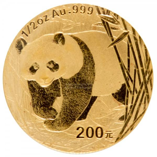 Ankauf: China Panda 2001, Goldmünze 1/2 Unze (oz)