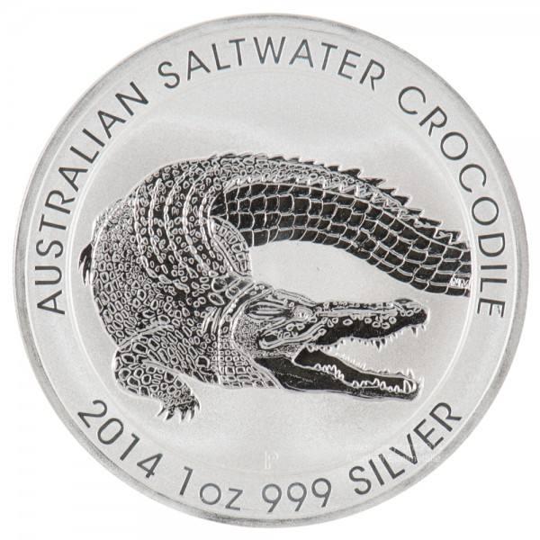 Perth Mint Salzwasser Krokodil 2014, Silbermünze 1 Unze (oz)