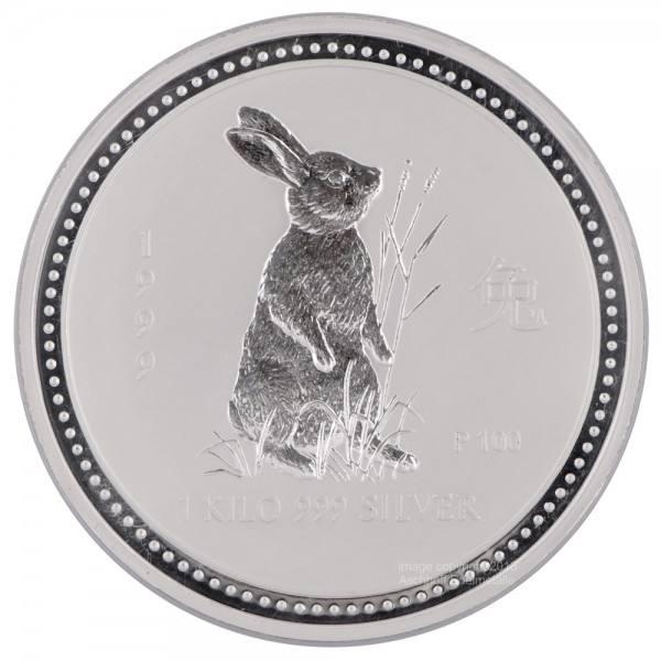 Lunar I 1999 Hase, Silbermünze 1 kg