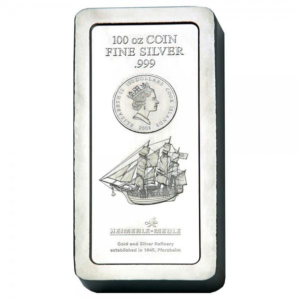 Cook Islands Münzbarren, Silber 100 Unzen (oz), diverse Jahrgänge