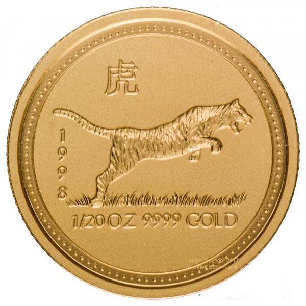 Lunar I 1998 Tiger, Goldmünze 1/20 Unze (oz)