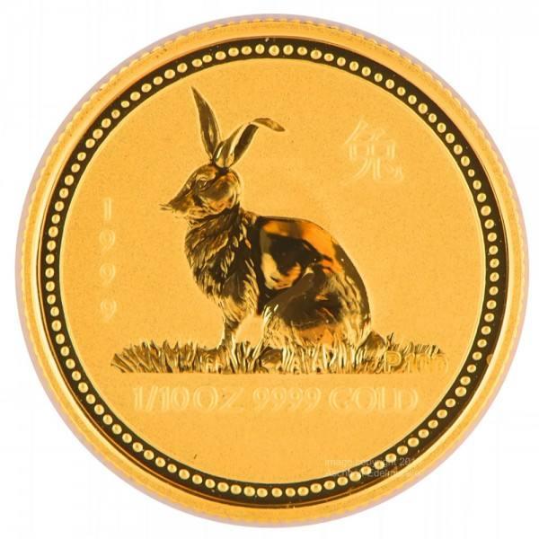 Ankauf: Lunar I 1999 Hase, Goldmünze 1/10 Unze (oz)