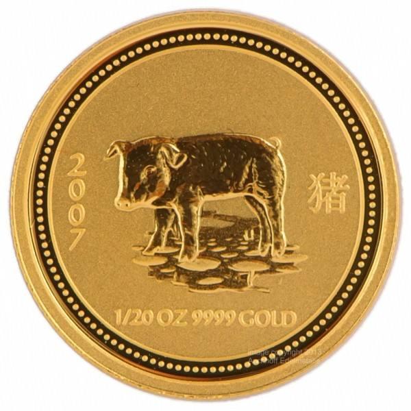 Ankauf: Lunar I 2007 Schwein, Goldmünze 1/20 Unze (oz)