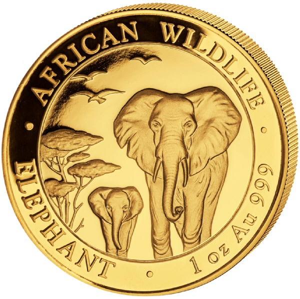 Ankauf: Somalia Elephant 2015, Goldmünze 1 Unze (oz)