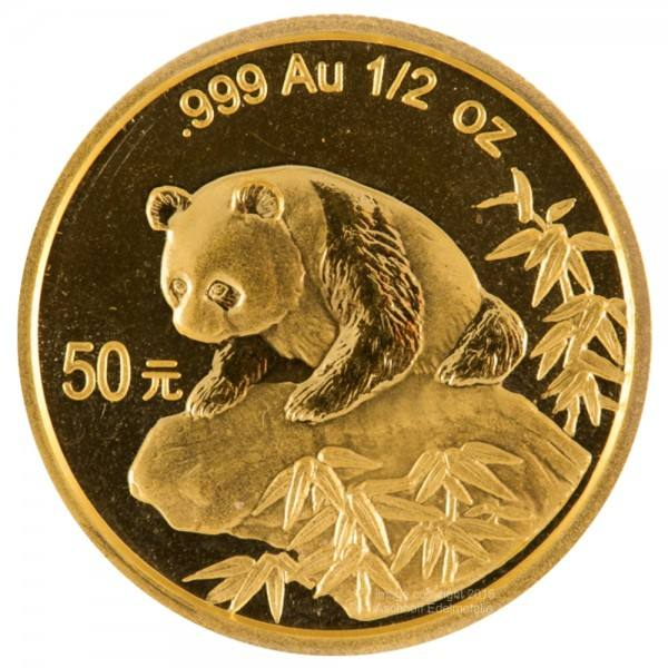 Ankauf: China Panda 1999, Goldmünze 1/2 Unze (oz)