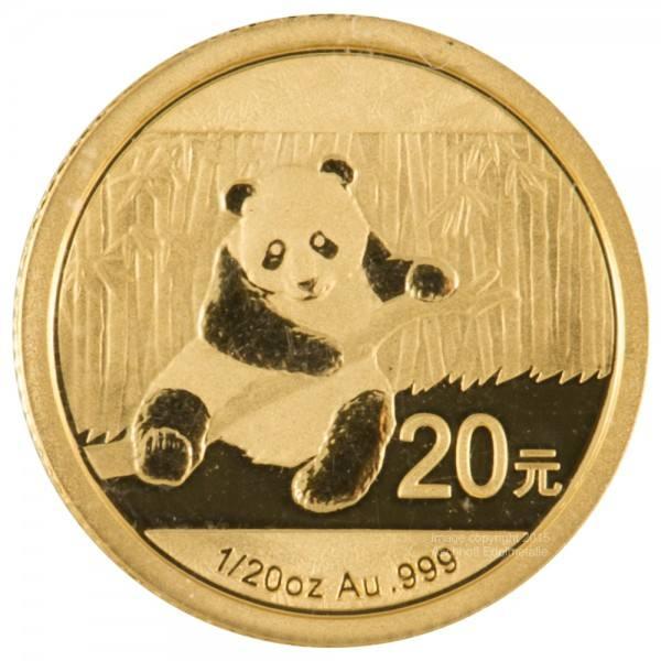 Ankauf: China Panda 2014, Goldmünze 1/20 Unze (oz)