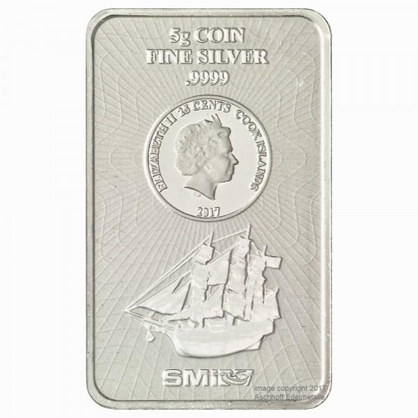 Cook Islands Münzbarren , Silber 5g, Neuware mit Zertifikat